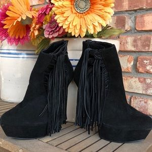 Suede Leather platform high heel ankle boots